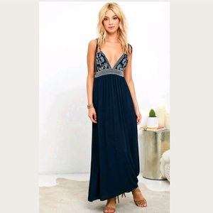 Lulu's Maxi Dress Days of Sunlight Embroidered